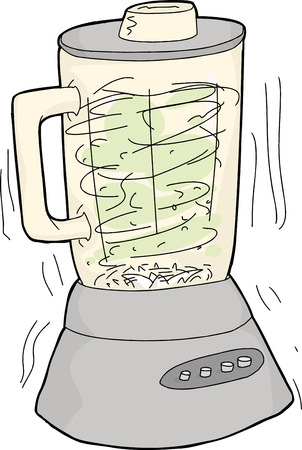 chopping: Single hand drawn cartoon blender chopping food