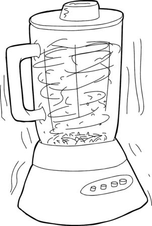 chops: Cartoon blender shaking as it chops up food