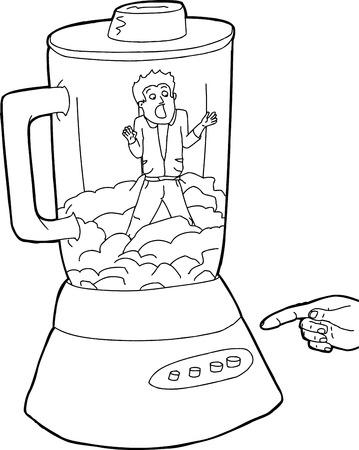 Blender full of food and man stuck inside blender