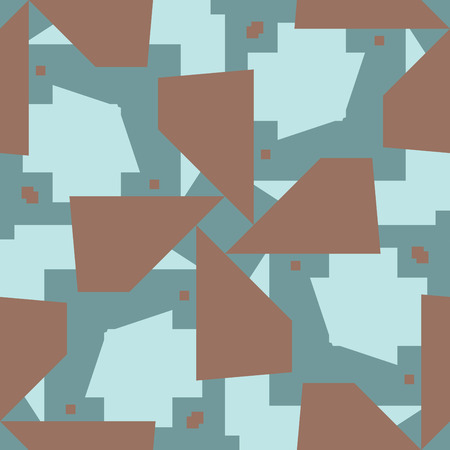 intersecting: Intersecting brown and blue polygons in seamless pattern Illustration
