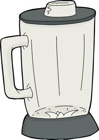 Cartoon empty closed blender jar over white