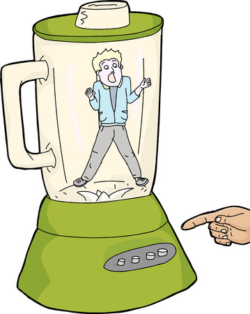 overwhelmed: Finger over blender button with scared person in jar