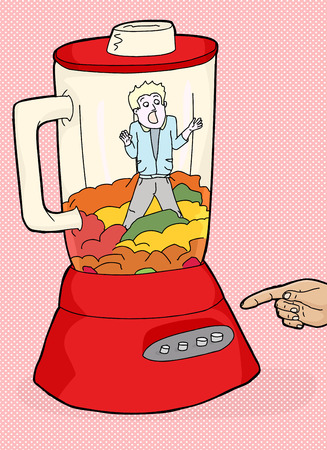 helpless: Red blender with helpless man stuck inside Illustration