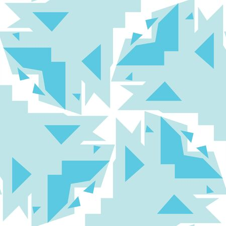 Seamless background pattern of various blue triangles over white