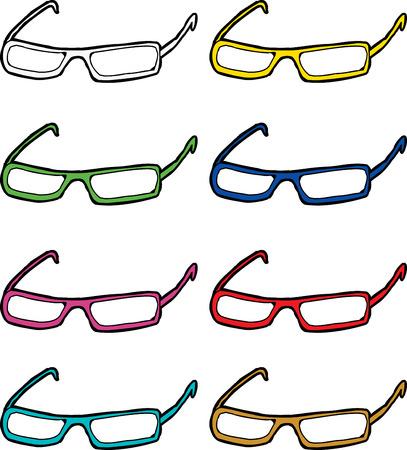 eyeglasses: Set of cartoon eyeglasses frames in various colors