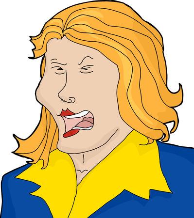 Hand drawn cartoon of screaming blond woman