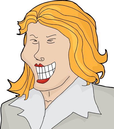 hysterical: Cartoon of laughing businesswoman over isolated white background