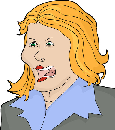 disapproving: Isolated cartoon of angry blond female yelling