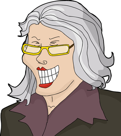 joking: Laughing businesswoman with gray hair laughing hysterically