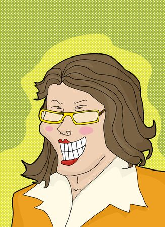 hysterical: Laughing businesswoman with eyeglasses over green background Illustration