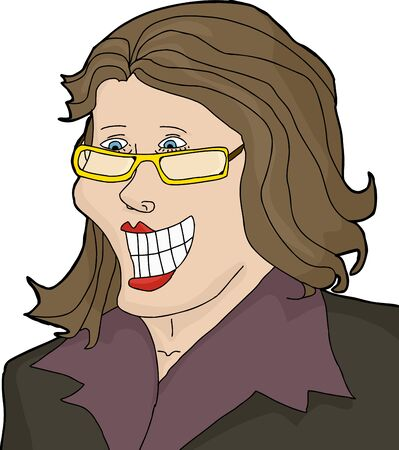 Excited Caucasian woman with eyeglasses and big smile