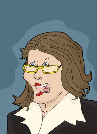 Argumentative female executive with eyeglasses over blue Ilustração
