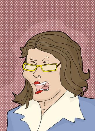 Enraged businesswoman with eyeglasses and blue jacket Illustration