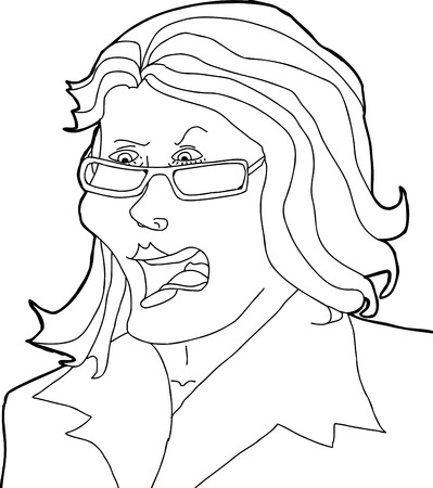 Outline drawing of angry lady with eyeglasses Illustration