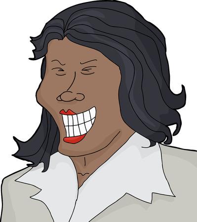 joking: Isolated Asian female executive laughing over white background