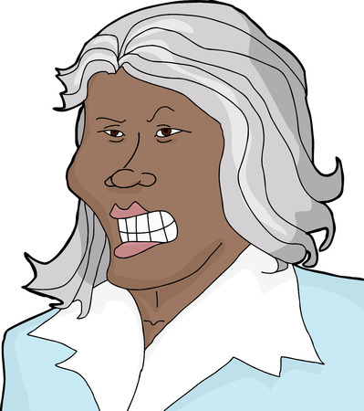insulted: Insulted Asian businesswoman with gray hair on white background Illustration