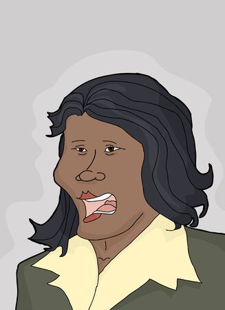 uneasy: Cartoon of single Hispanic businesswoman with regretful face