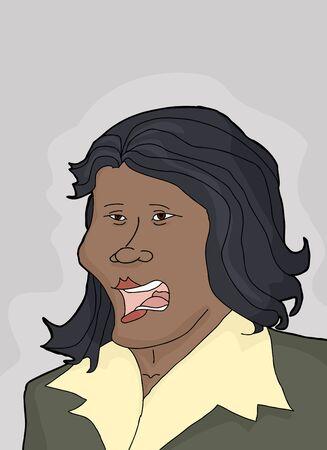 ispanico: Fumetto di singolo businesswoman latino-americana con la faccia di rammarico Vettoriali