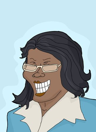 joking: Beautiful laughing businesswoman with eyeglasses over blue