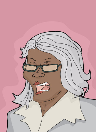 One outraged female executive with gray hair Illustration