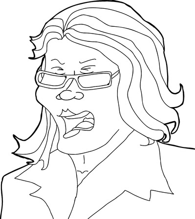 Outline cartoon of shouting woman with eyeglasses Illustration