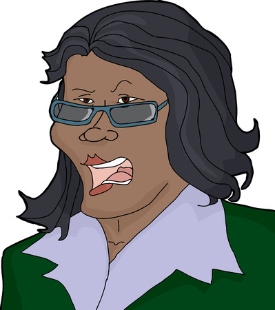 Illustration of frustrated single businesswoman with sunglasses screaming Ilustração