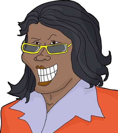 latina: Isolated single cartoon businesswoman with eyeglasses smirking
