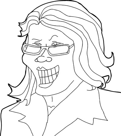 dubious: Outlined single cartoon businesswoman with eyeglasses smirking