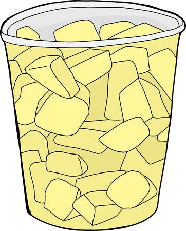 plastic cup: Cartoon of single plastic cup of cut pineapple chunks