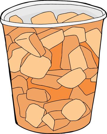 plastic cup: Chunks of cut cantaloupe inside plastic cup