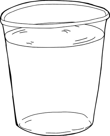 plastic cup: Outlined single plastic cup full of water