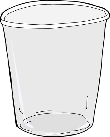 plastic cup: One empty plastic cup over white background