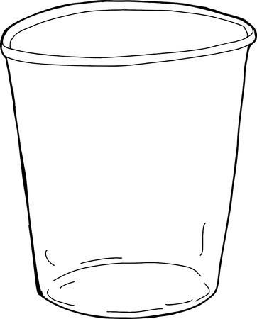 Cartoon overzicht van lege plastic beker over wit