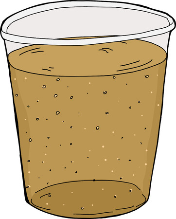 Illustration of single plastic cup of carbonated soda