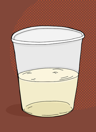 half full: Plastic cup half full of drink over brown background