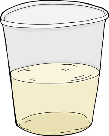 half full: Isolated half full plastic cup over white background