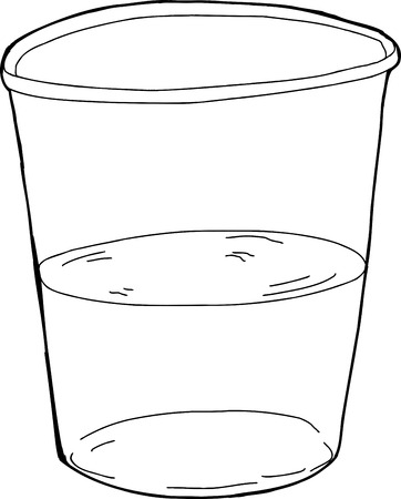 half full: Single isolated half full plastic cup illustration