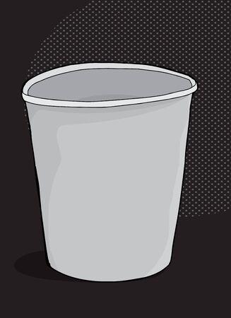 暗い背景上 1 つ漫画発泡スチロール カップ