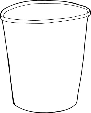 Single empty cup outline drawing over white background