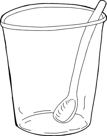 plastic cup: Outlined illustration of spoon inside plastic cup Illustration