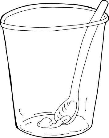 plastic cup: Single plastic cup with spoon and food inside