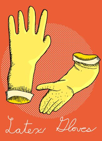 janitorial: Latex rubber cleaning gloves illustration over orange background