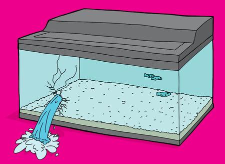 Broken aquarium tank leaking water over pink Illustration