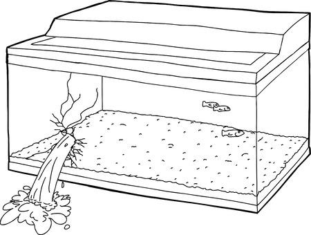 oblivious: Single hand drawn broken fish tank cartoon Illustration