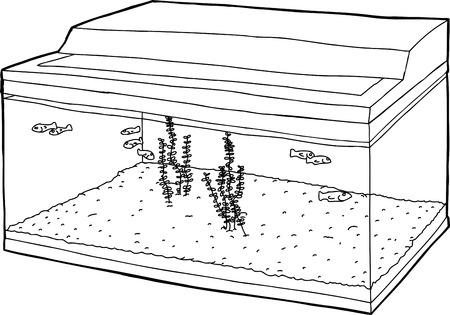 tank fish: Outline cartoon of tiny fish swimming in tank