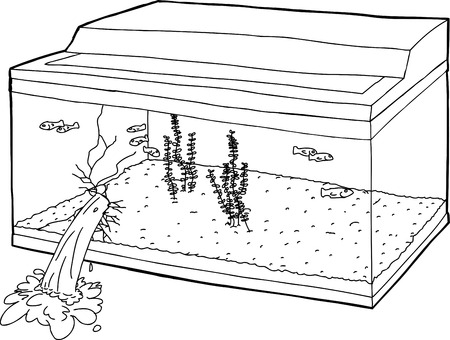 Outlined cartoon of naive fish swimming in leaking tank