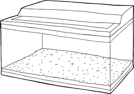 Outline cartoon of empty hand drawn fish tank