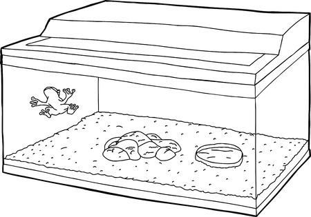 물고기 탱크 벽에 개구리의 개요 만화