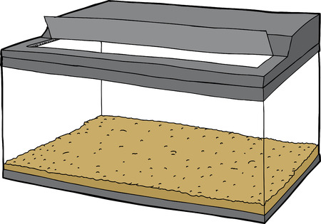 Single hand drawn empty fish tank with open lid