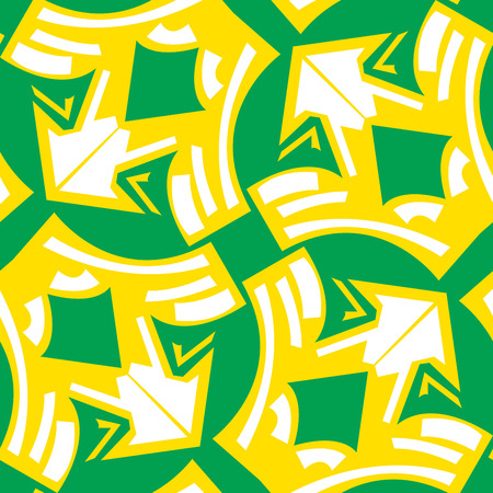 winged: Abstract winged arrows pattern in yellow over green